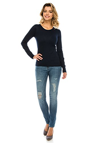 The Classic Woman's Basic Knit Crewneck Loose Fit Long Sleeve Thermal T Shirt Top (Large, Navy) (Shirt Thermal Blue)