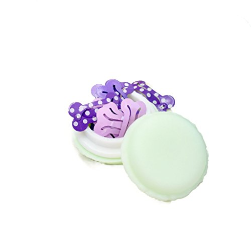 MO Macaron PURPLES BONE SNAP HAIR CLIPS - 10 PURPLES D BONE SHAPED Hair Clips in MINTY GREEN MACARON CASE - CUTEST Candy Color Macaron Case Kawaii - Bone Clips for Maltese, Yorkie, puppy, dogs