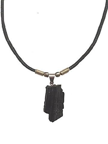 Rough Cut Genuine Black Tourmaline Stone Necklace - Pendant with Silver Bail (18