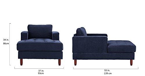 DIVANO ROMA FURNITURE Mid Century Modern Velvet Fabric Living Room Chaise Lounge (Navy)