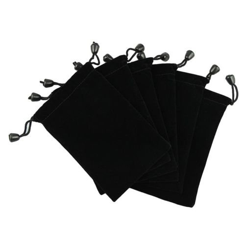 VIPASNAM-New 6 Pouches Black Velvet Drawstring Jewelry Gift Phone Holder Packet Bags 5'