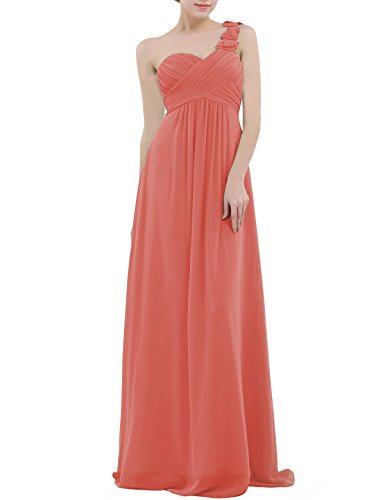 YiZYiF Chiffon Applique One Shoulder Long Bridesmaids Party Dress Coral 6 (One Dress Coral Shoulder)
