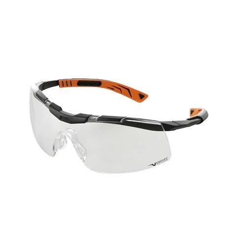 UNIVET 5X6.01.00.00 Bügelbrille'5X6' mit klarem Glas in schwarz/orange