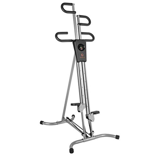 Fitnessclub Folding Vertical Climber Cardio Workout Exercise Machine with Adjustable Resistance and LCD Monitor for Home Gym Fitness