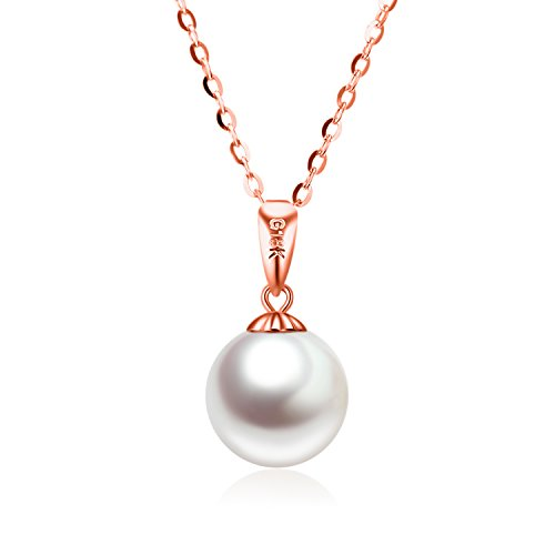 SISGEM Solid 18K Gold Freshwater Cultured Pearl Pendant Necklace 14k Gold Chain, 18