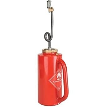 """Ben Meadows Professional Red D.O.T. Drip Torch Ideal for Brush Disposal, Roadside Burning, Agricultural Clearing and Back Firing – Double Flashback Protection, 1-1/4-gal. Capacity, 6-1/4"""" dia x 25""""H"""