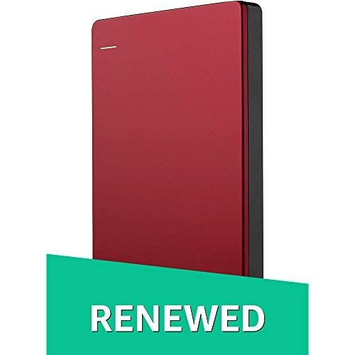 Seagate Backup Plus Slim 2TB USB 3.0 Portable External Hard Drive - RED (Renewed)