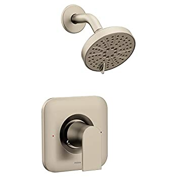 Image of Moen T2472EPBN Genta Posi-Temp Pressure Balancing Eco-Performance Modern Shower Only Trim, Valve Required, Brushed Nickel Home Improvements