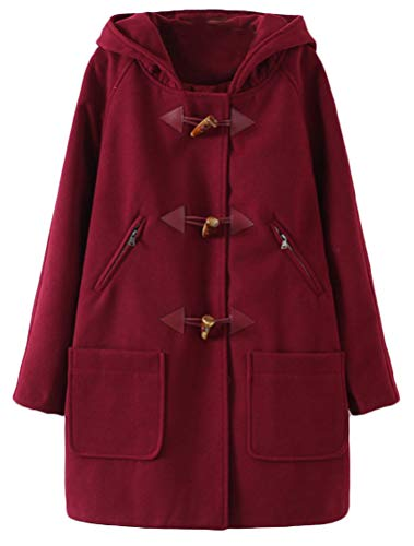 Minibee Women's Wool Blend Toggle Coat Outdoor Hooded Pea Coat Duffle Jacket Thick Wine Red S -