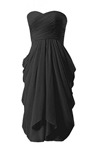 Daisyformals Longueur Genou Robe De Soirée Robe De Demoiselle D'honneur En Mousseline De Soie Sans Bretelles (bm333) # 52 Noir