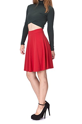 Dani's Choice Casual to Formal Stretch Gored Flared Trumpet Mermaid Knee Length Skirt (S, Red) (Stretch Gored Skirt)