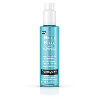 Neutrogena Hydro Boost Lightweight Hydrating Facial Cleansing Gel, Makeup Remover with Hyaluronic Acid, Dermatologist Recommended, Hypoallergenic, and Non Comedogenic, 6 oz