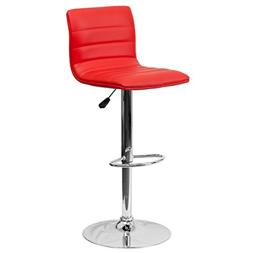 Beautiful Red Caius Adjustable Height Swivel Bar Stool with