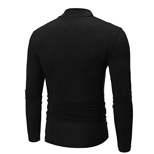 Manches Homme T Noir Ujunaor Longues Jumper Roulé Col Tops shirt Pour À Et wBBAaHqg