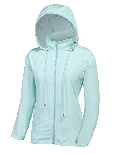 ZEGOLO Women's Raincoats Waterproof Windbreaker Lightweight Active Outdoor Hooded Rain Jacket for Hiking/Running/Camping Blue -