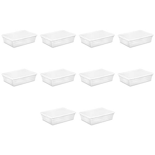 Sterilite 16558010 28 Quart/ 27 Liter Storage Box, White Lid w/ Clear Base, ()