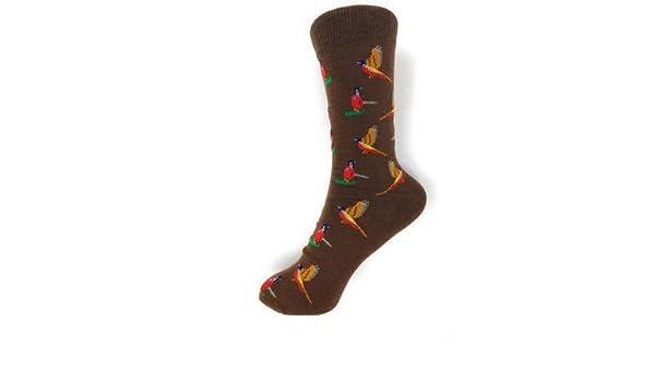 Flying Pheasants on brown repeating Unisex Socks Adult UK Size 6-11