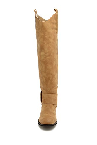 with Up Pull Tan Knee High and Women's Charles Tabs Buckle Riding Albert Boot Light wqfzYaC
