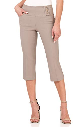 Rekucci Women's Ease into Comfort Wide Waist Capri with Back Lacing Detail (12,Khaki)