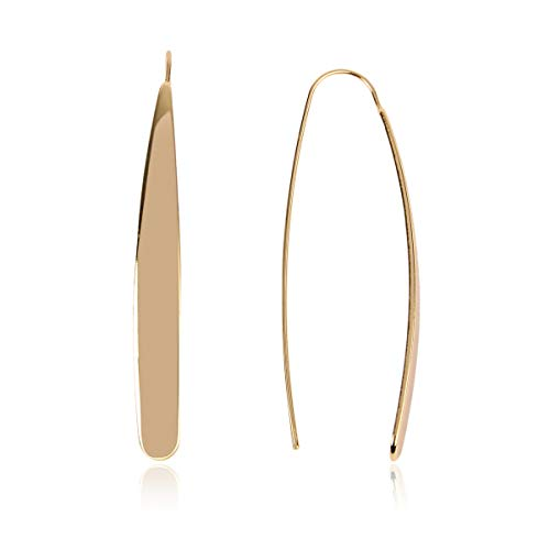 - RIAH FASHION Modern Metallic Arc Bar Pull Through Threader Earrings - Simple Lightweight Curved Vertical Drop Open Fish Hoop Dangles (Teardrop Bar-Shiny Gold)