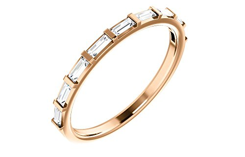 (Jewels By Lux 14K Rose Gold 1/4 CTW Diamond Straight Baguette Anniversary Wedding Ring Band)