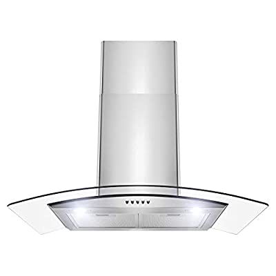 "Firbird RH0387 Wall Mount Range Hood –30"" Stainless-Steel Hood Fan for Kitchen – 3-Speed Quiet Motor – Premium Push Control Panel – Minimalist Design – Mesh Filter & LED Lamp – Tempered Glass"