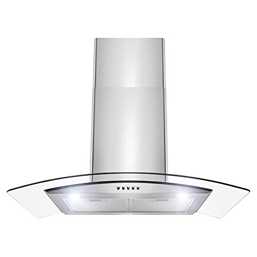 Firebird RH0387 Wall Mount Range Hood -30″ Stainless-Steel Hood Fan for Kitchen – 3-Speed Quiet Motor – Premium Push Control Panel – Minimalist Design – Mesh Filter & LED Lamps – Tempered Glass