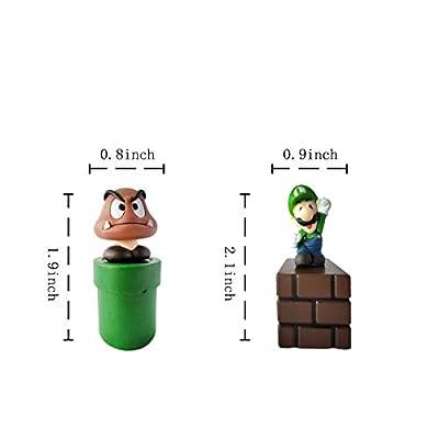 5 pcs pieces of Mario cake topper, Mario party supplies, kids birthday cake decoration.: Toys & Games