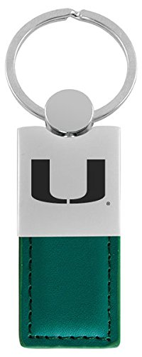 University of Miami-Leather and Metal Keychain-Green - Miami College Leather