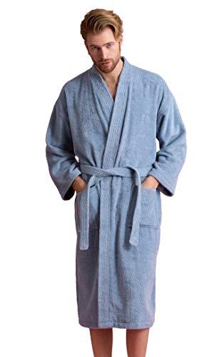 Men's Robe, Turkish Cotton Terry Kimono Spa Bathrobe (Light Blue, Large) (Bath Terry Spa Style Robe)