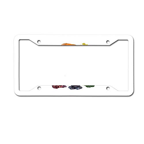 PoppyAnthony Creative Fruit Clocks Kids Licence Plate Frame Aluminum License Plate Cover for US Canada 4 Hole and Screw
