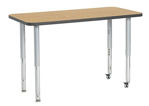 ECR4Kids Contour 24 x 48 Mobile Rectangle Activity School Table Super Legs w/Glides and Casters Adjustable Height 19-30 inch (Oak/Grey) [並行輸入品] B07K9LTQ3K