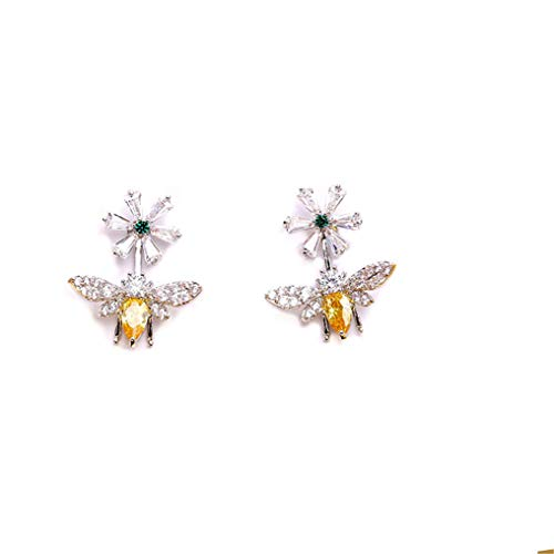- Myhouse Exquisite Small Inlaid Zircon Earrings Women Needle Ear Jewelry Personalized Bee Daisy Earrings,Platinum