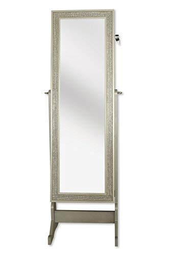 (Iconic Home Glitzy Contemporary Royal Champagne Crystal-Border Cheval Mirror Jewelry Armoire)