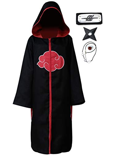 Cheap Anime Cosplay Costumes (Angelaicos Unisex Halloween Cosplay Costume Uniform Black Cloak with Headband (L, Hoodie)
