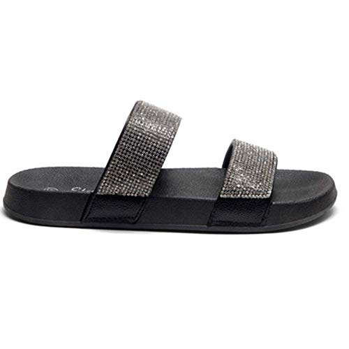Herstyle Anabell Womens Fashion Rhinestone Platform Sliders Slip On Mules Summer Shoe Sandals Black 6.0