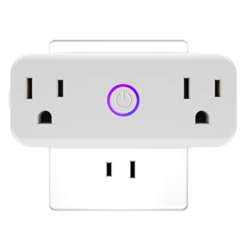Mini Wifi alexa Smart Plug, isuke 15A Dual Socket Outlets Compatible with Amazon Alexa with Energy Monitoring, Google Home, IFTTT, no hub Required?Work in Group(Android/IOS)