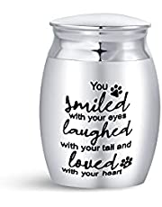 Luluadorn Small Keepsake Urn for Pet Ashes Paw Print Cat Dog Memorial Decorative Cremation Mini Urns Ashes Holder Stainless Steel Waterproof (You Smiled with Your Eyes)