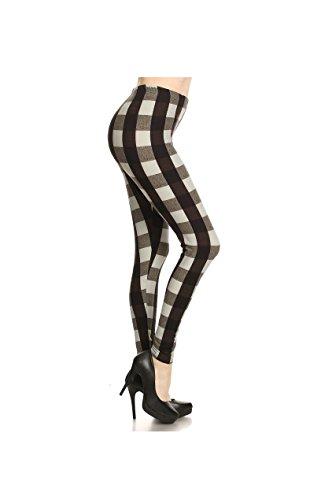 Sportoli Women's Basic Solid Print Comfort High Waist Full Length Stretchy Slimming Leggings - Gingham Print (One Size)