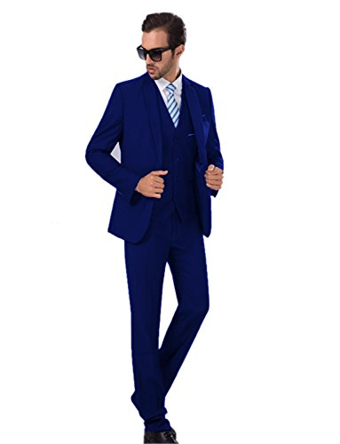 Lilis One Button 3-Piece Suit Single-Breasted One-Vent Notch-Lapel Slim Fit Tux by Lilis