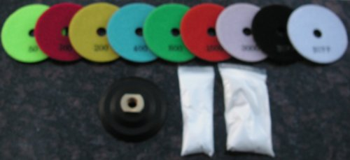"4"" Wet Granite Polishing Pads Complete Set of 10+1 Rubber Velcro Holder, a Pint of Densifier/Sealer"