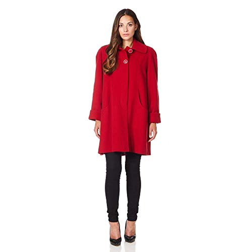 De La Creme Red Womens Swing Wool Cashmere Winter Coat Size 10