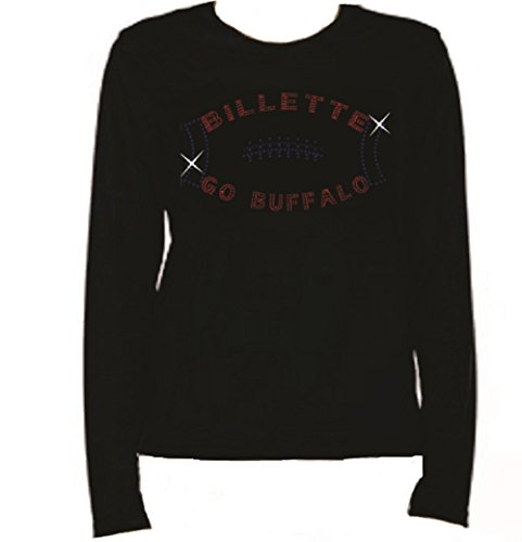 Rhinestone Buffalo Football Billette Long Sleeve-Round Neck-Black -I8IH (XL, BLACK) (Buffalo Round Balls)