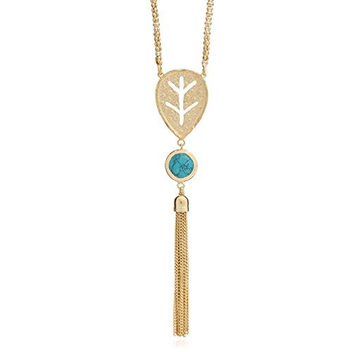 Athena-Gland décoratif-Collier avec pierre turquoise et 18kt plaqué or