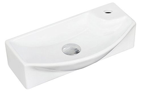 "American Imaginations AI-1770 Wall Mount Rectangle Vessel for Single Hole Faucet, 18"" x 9"", White from American Imaginations"