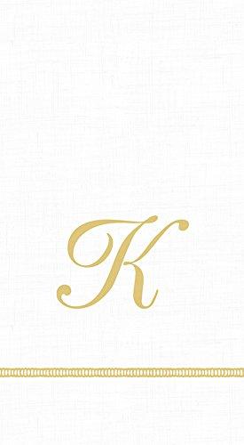 Caspari 3-Ply Paper Hemstitch Script White Monogram, 15 Count Guest Towel Napkins, Letter K Set of 2 ()