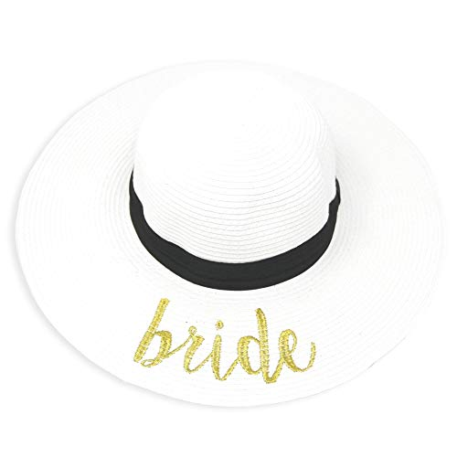 Me Plus Women Spring Summer Beach Paper Embroidered Lettering Floppy Hats (Bride - White) ()