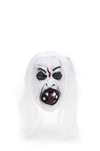 Adult Halloween Horror Vampire Dracula Face Mask Scary Party Role Play With Wig (Snow-white, black, (Snow White Halloween Face)