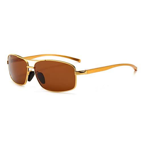 SUNGAIT Ultra Lightweight Rectangular Polarized Sunglasses 100% UV protection (Gold Frame Brown Lens, 62) Metal Frame 2458 ()