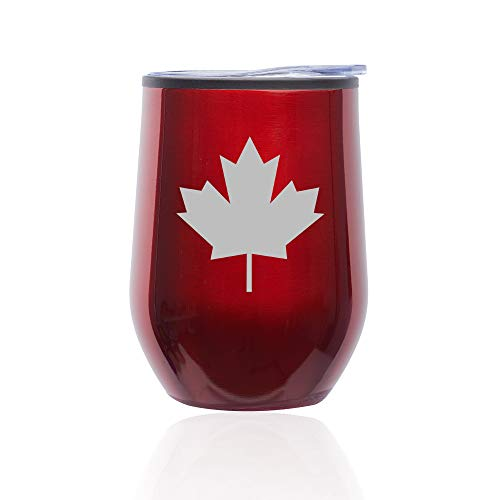 Stemless Wine Tumbler Coffee Travel Mug Glass With Lid Maple Leaf Canada (Red) (Best Cheap Red Wine Canada)